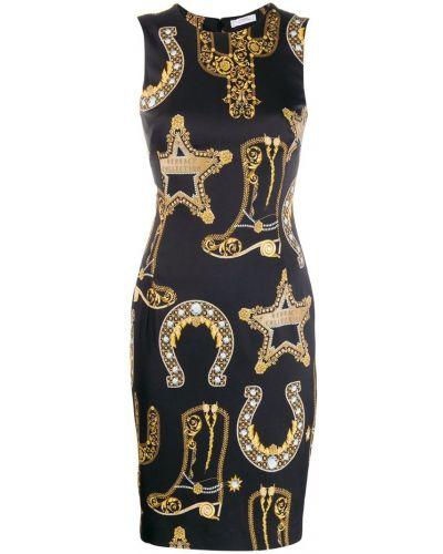 Приталенное платье миди - черное Versace Collection