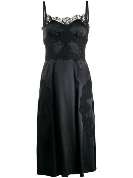 Черное шелковое тонкое платье миди на бретелях Dolce & Gabbana