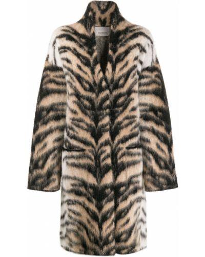 Шерстяное черное длинное пальто Laneus