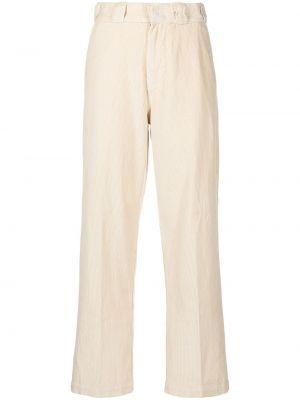 Białe spodnie z wysokim stanem bawełniane Dickies