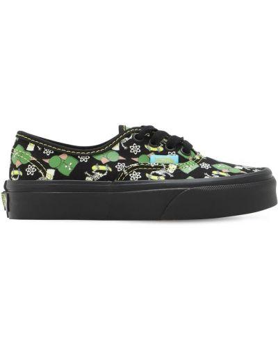 Brezentowy ażurowy czarny sneakersy na sznurowadłach Vans