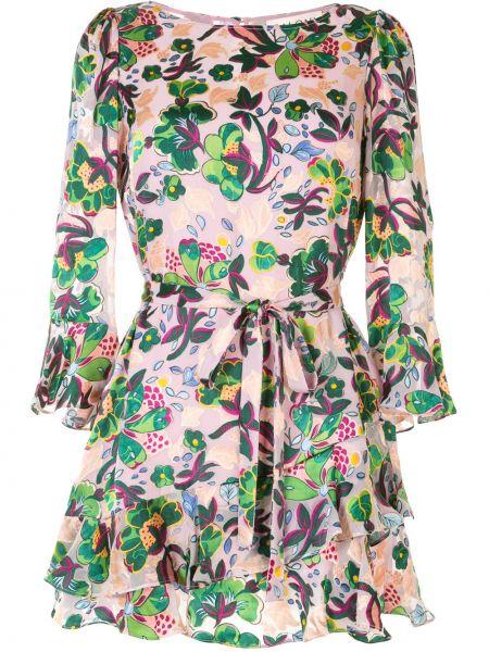 Фиолетовое платье мини на пуговицах со вставками с вырезом Saloni