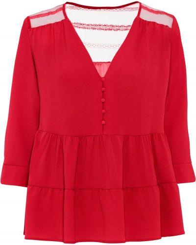 Красная кружевная блузка с оборками Bonprix