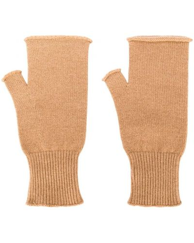 Wełniany brązowy rękawiczki z mankietami Maison Margiela