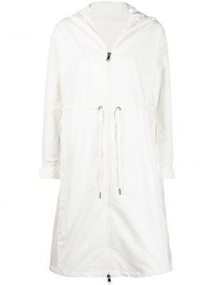 Белый плащ классический с капюшоном на молнии Moncler