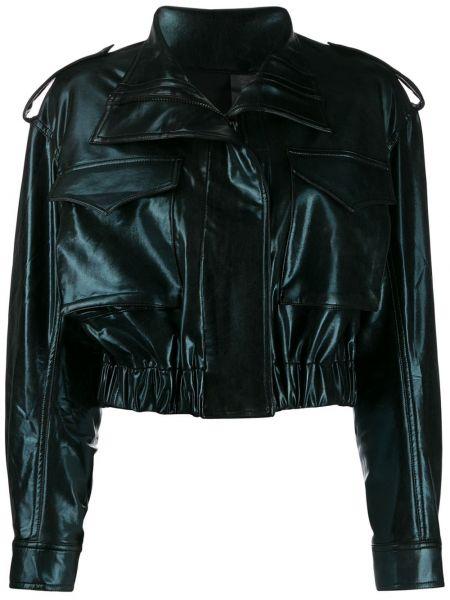 Кожаная куртка черная укороченная Norma Kamali