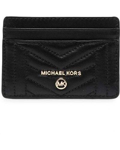 Золотистая черная кожаная визитница Michael Michael Kors