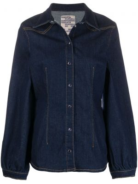 Niebieska koszula jeansowa bawełniana z długimi rękawami Baum Und Pferdgarten