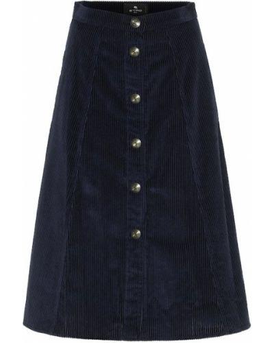 Ватная синяя юбка миди вельветовая Etro