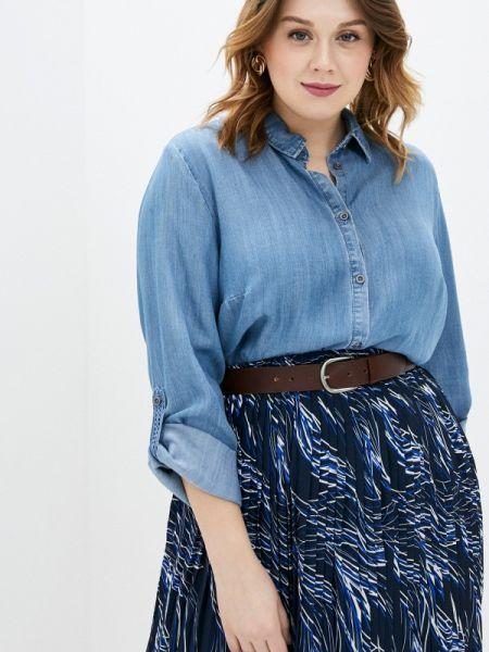 Джинсовая рубашка с длинным рукавом синяя Ulla Popken
