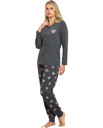 Szara piżama bawełniana z długimi rękawami Vienetta