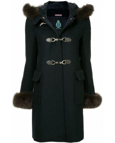 Синее длинное пальто с капюшоном на пуговицах Guild Prime