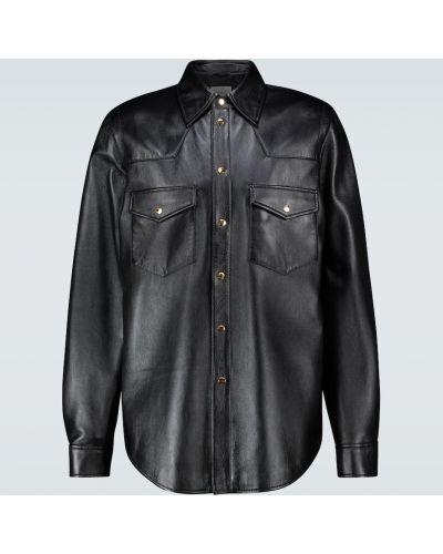 Кожаная черная рубашка оверсайз Gucci