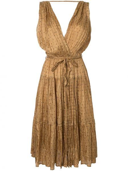 Платье миди с открытой спиной в горошек Mes Demoiselles
