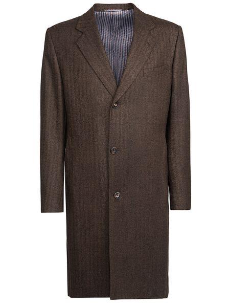 Шерстяное однобортное длинное пальто с воротником на пуговицах Castangia