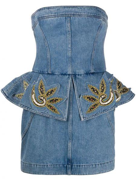 Джинсовое платье с пайетками с вышивкой Philosophy Di Lorenzo Serafini
