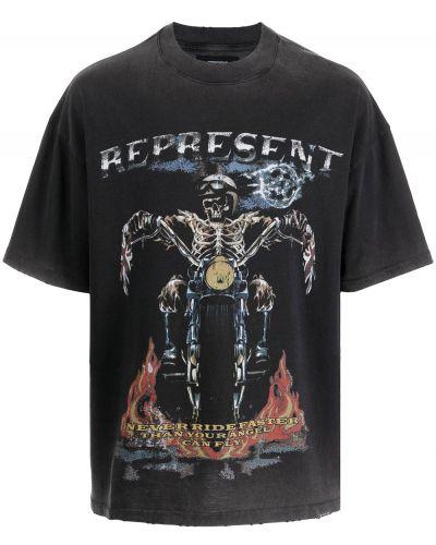 Czarna T-shirt z nadrukiem z printem Represent