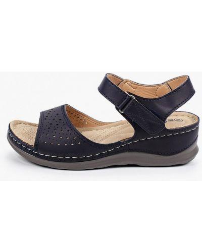 Синие кожаные сандалии Exquily