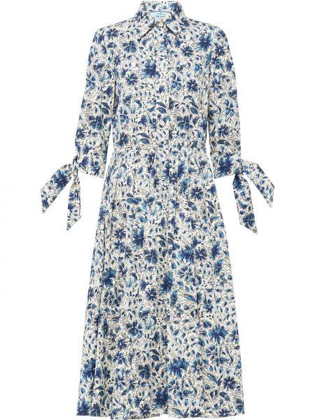 Синее классическое платье на пуговицах с воротником Prada