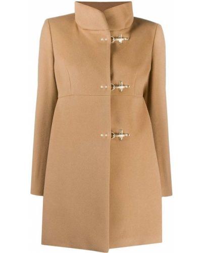 С рукавами шерстяное длинное пальто с воротником на крючках Fay