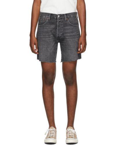 Skórzany niebieski dżinsowe szorty z kieszeniami z łatami Levi's