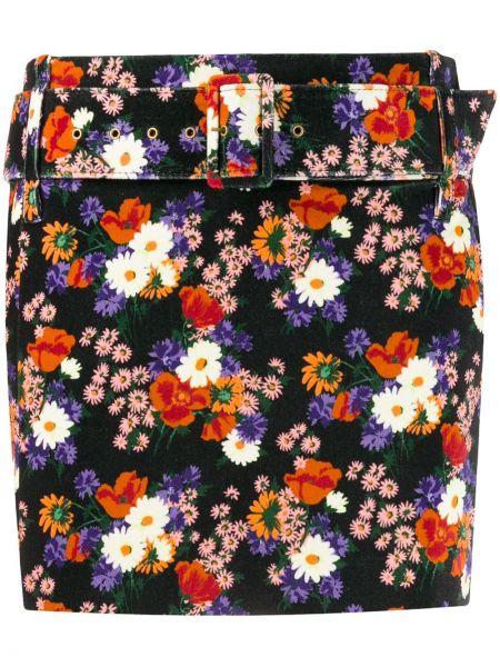 Czarna spódnica mini z paskiem bawełniana Staud