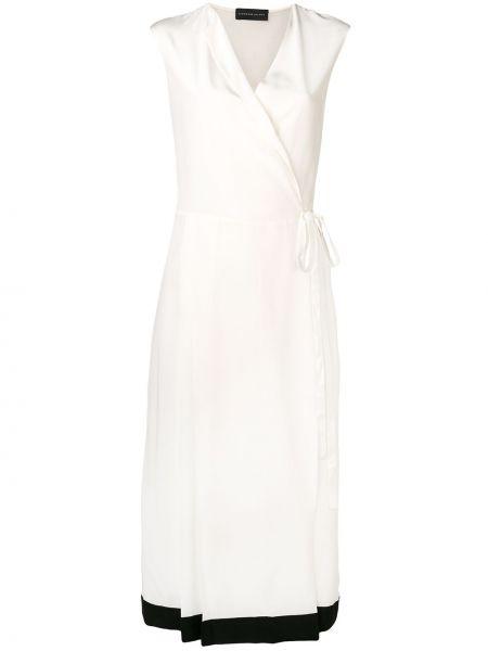 Шелковое платье миди с запахом без рукавов на молнии Cashmere In Love