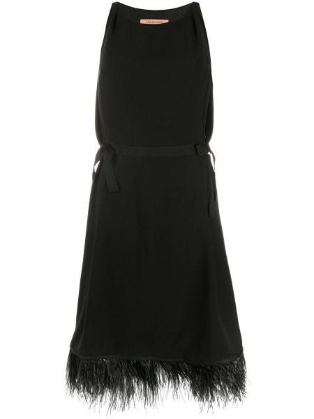 Прямое шелковое платье миди с перьями без рукавов Yves Salomon