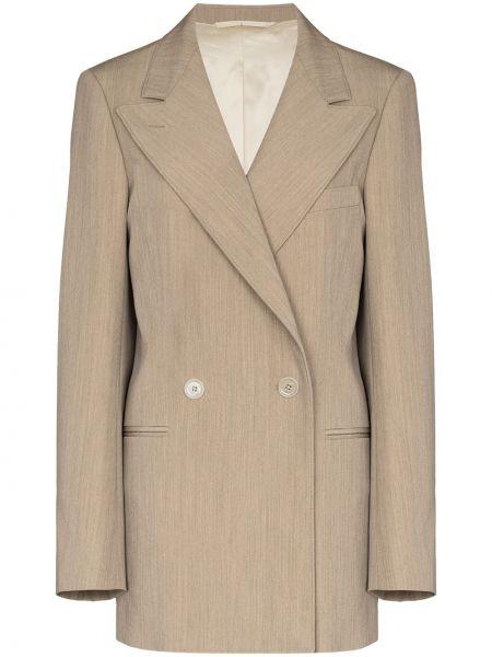 Шерстяной бежевый пиджак двубортный Lemaire