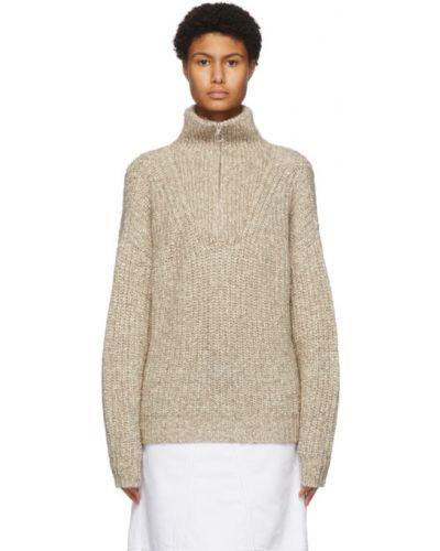 Бежевый длинный свитер с воротником из альпаки Isabel Marant étoile