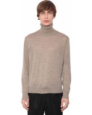 Beżowy sweter wełniany z haftem Undercover