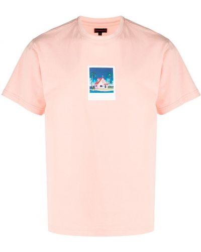 Różowy t-shirt bawełniany krótki rękaw Clot