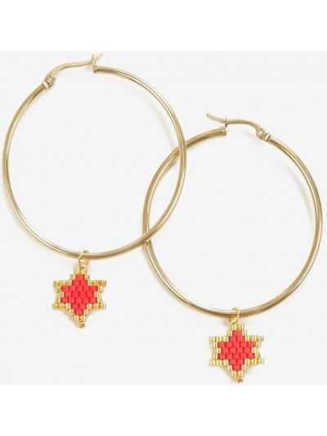 Czerwone złote kolczyki ze złota Renee