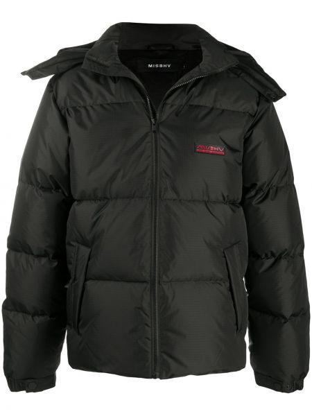 Czarny klasyczny pikowana płaszcz z kieszeniami z wiskozy Misbhv