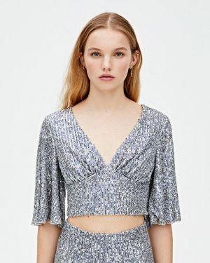 Блузка с длинным рукавом серебряный Pull&bear