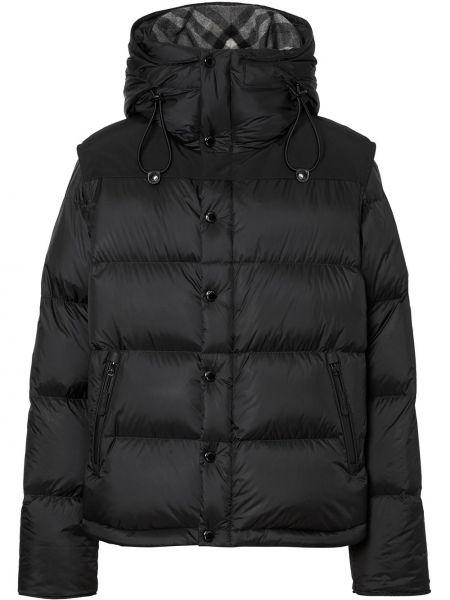 Кожаная черная куртка на молнии с карманами Burberry