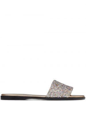 Złote sandały skórzane Jimmy Choo