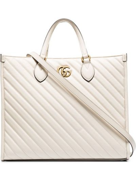 Pikowana biały torba na ramię z prawdziwej skóry Gucci