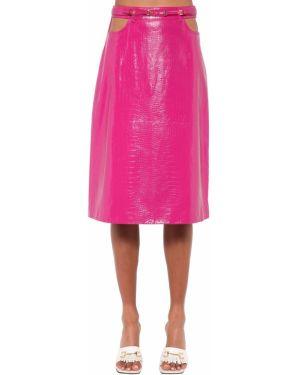 Кожаная юбка миди - розовая Dodo Bar Or