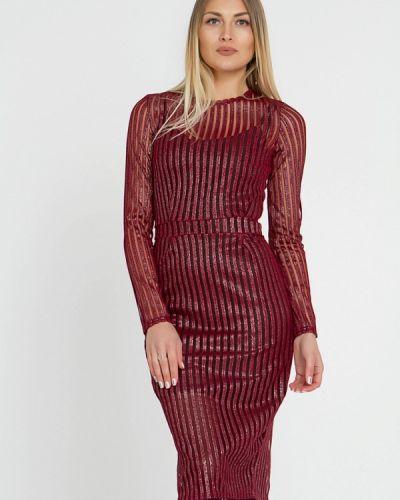 Вечернее платье осеннее красный Lilove