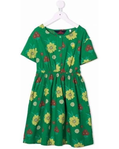 Zielona sukienka mini w kwiaty rozkloszowana The Animals Observatory
