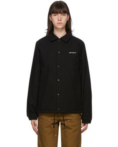 Bawełna czarny ciepła kurtka z mankietami z długimi rękawami Carhartt Work In Progress