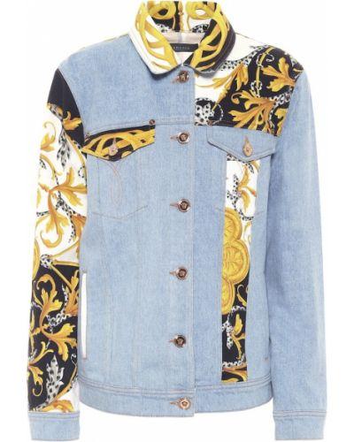Ватная синяя кожаная джинсовая куртка Versace