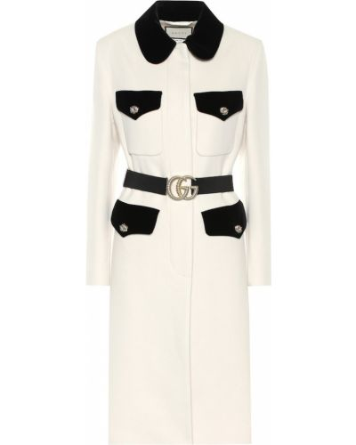 Кожаное пальто без воротника милитари Gucci