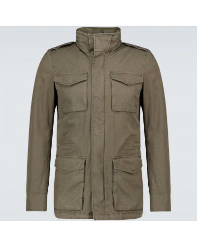 Zielony bawełna kurtka wojskowy z kieszeniami Herno