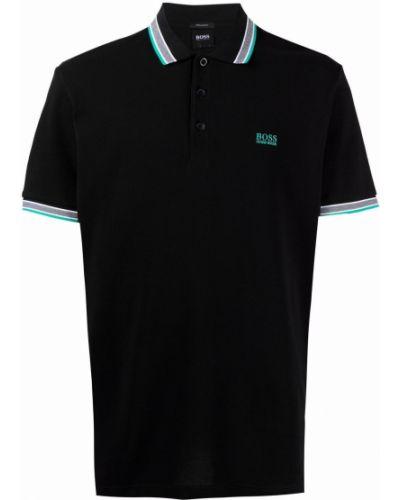 Czarna koszula bawełniana krótki rękaw Boss Hugo Boss