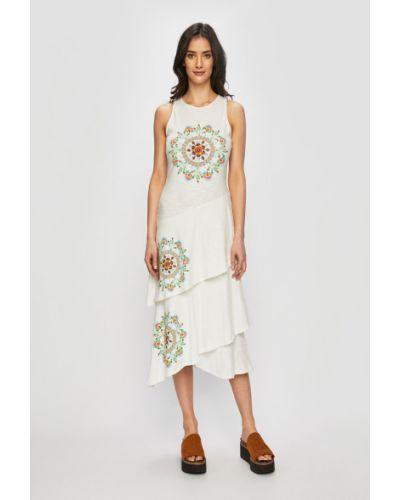 Платье миди с вышивкой расклешенное Desigual