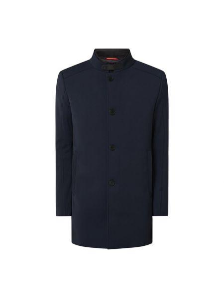 Niebieski płaszcz z kieszeniami z zamkiem błyskawicznym od płaszcza przeciwdeszczowego Cinque