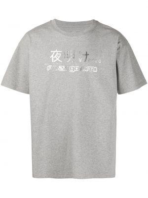 Хлопковая с рукавами серая прямая рубашка с короткими рукавами Rassvet