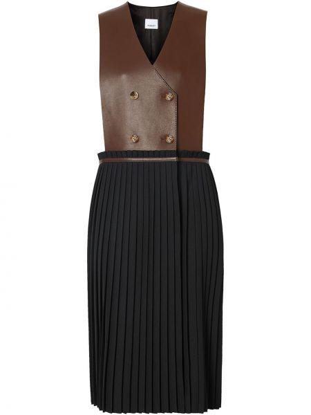 Кожаное платье двубортное без рукавов на молнии Burberry